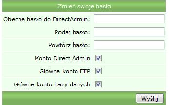 Pole zmiany hasła do panelu Direct Admin