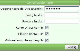 Zmiana hasła do panelu DirectAdmin stare hasło