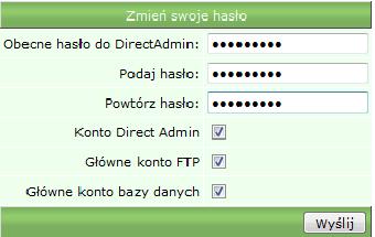 Zmiana hasła do panelu DirectAdmin - nowe hasło